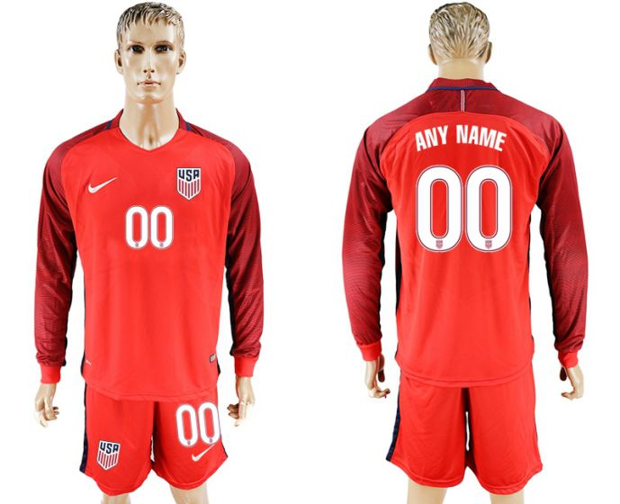 Men 2017-2018 national USA away long sleeves customized soccer jersey