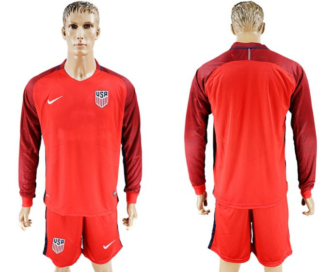 Men 2017-2018 national USA away long sleeves soccer jersey
