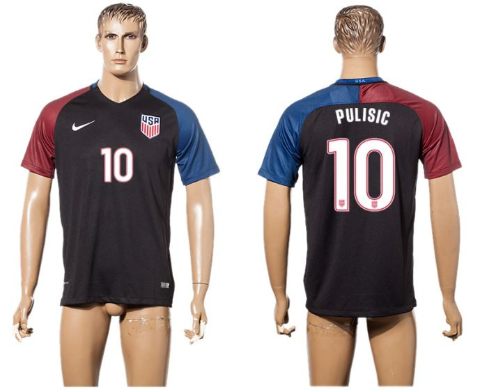 Men 2017-2018 national United States away aaa version 10 Pulisic black soccer jersey