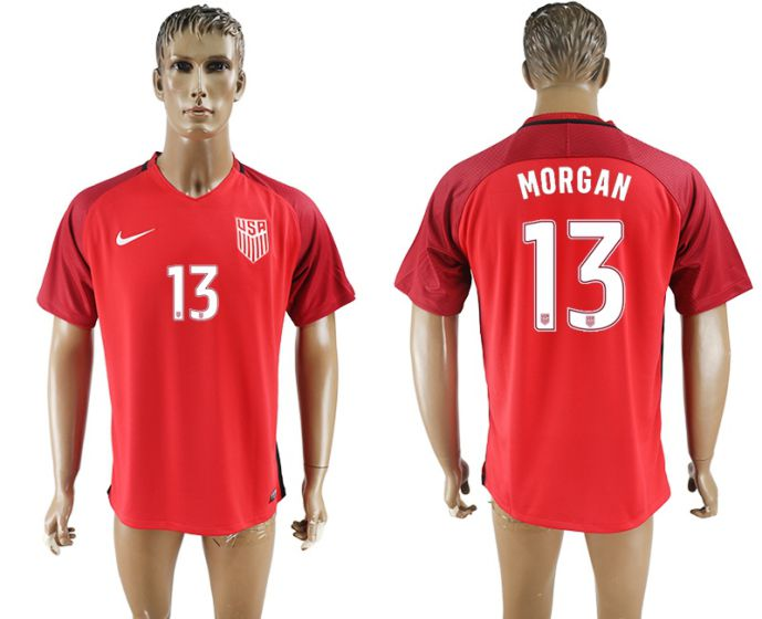 Men 2017-2018 national United States away aaa version 13 red morgan soccer jersey