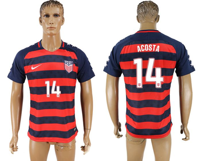 Men 2017-2018 national United States away aaa version 14 Acosta soccer jersey