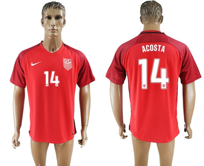 Men 2017-2018 national United States away aaa version 14 red acosta soccer jersey