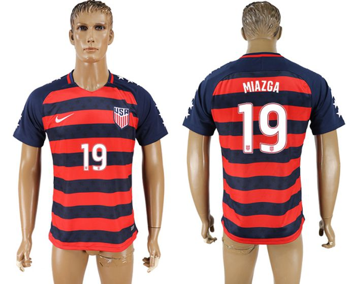 Men 2017-2018 national United States away aaa version 19 Miazga soccer jersey