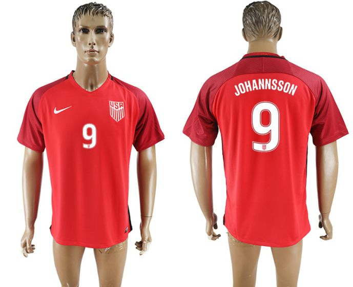 Men 2017-2018 national United States away aaa version 9 Johannsson red soccer jersey