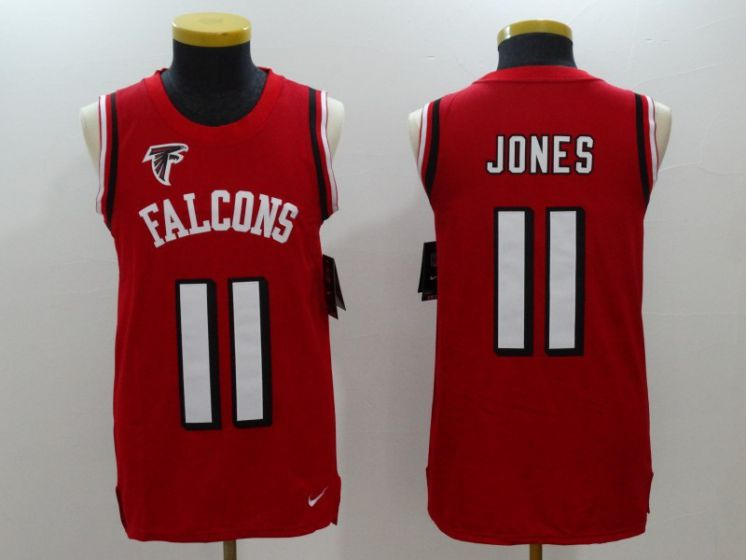 Men Atlanta Falcons 11 Julio Jones Red Rush Player Name Number Tank Top stitched NFL Jerseys
