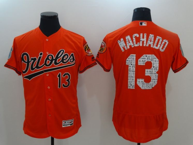 Men Baltimore Orioles 13 Manny Machad Orange 2017 Spring Training MLB Jerseys