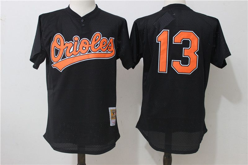 Men Baltimore Orioles 13 Manny Machado Black Mesh Throwback MLB Jerseys