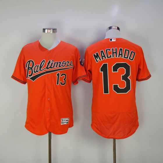 Men Baltimore Orioles 13 Manny Machado Orange Elite MLB Jerseys