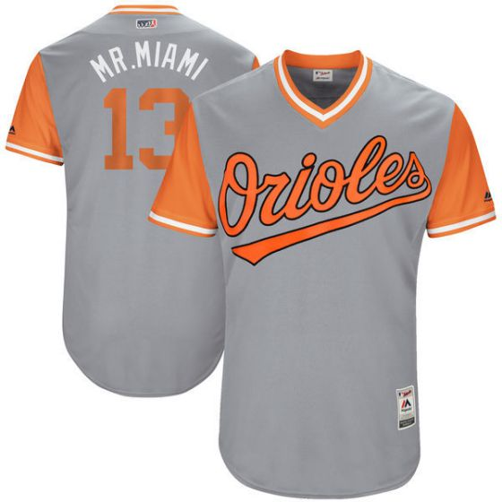 Men Baltimore Orioles 13 Mr.miami Grey New Rush Limited MLB Jerseys