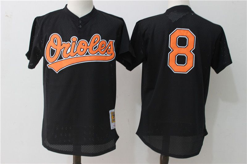 Men Baltimore Orioles 8 Cal Ripken Black Mesh Throwback MLB Jerseys