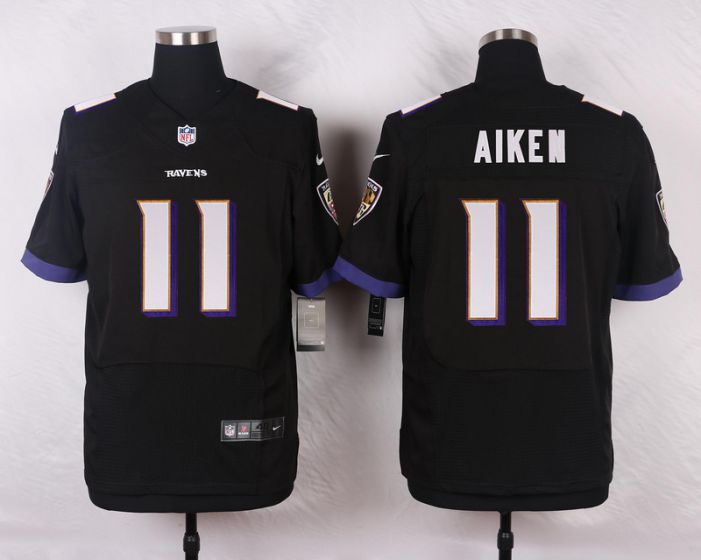 Men Baltimore Ravens 11 Kamar Aiken Black Elite Nike NFL Jerseys