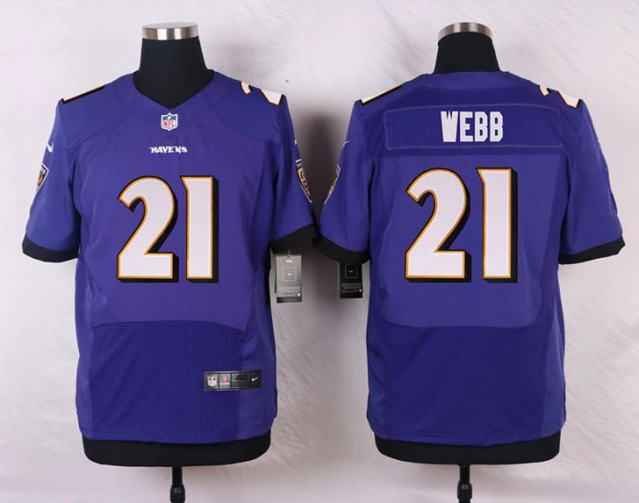 Men Baltimore Ravens 21 Webb Purple Elite Nike NFL Jerseys