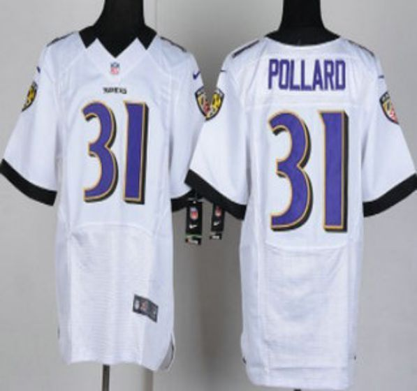 Men Baltimore Ravens 31 Bernard Pollard White Elite Nike NFL Jerseys