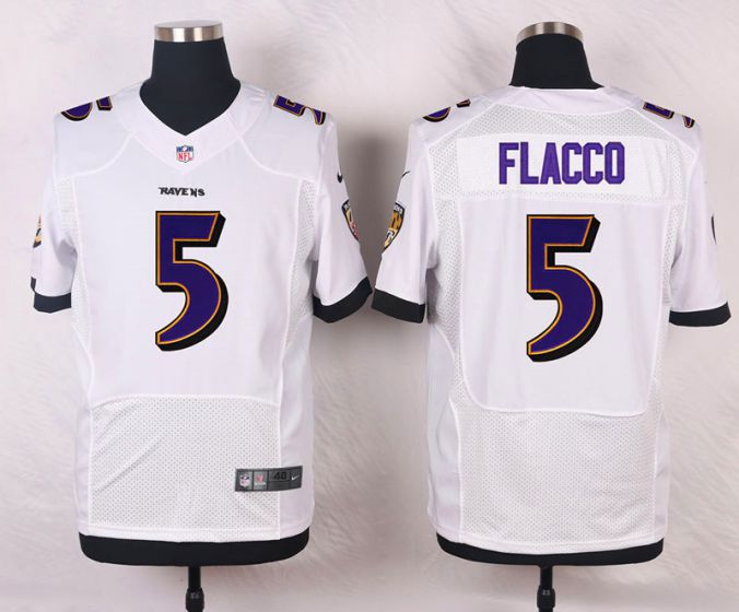 Men Baltimore Ravens 5 Joe Flacco White Elite Nike NFL Jerseys