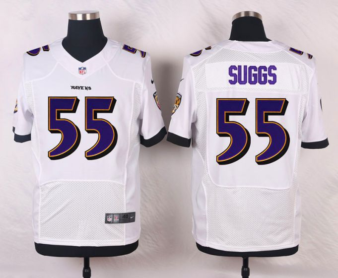 Men Baltimore Ravens 55 Terrell Suggs White Elite Nike NFL Jerseys