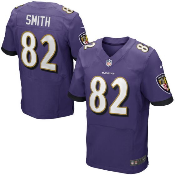 Men Baltimore Ravens 82 Smith Purple Elite Nike NFL Jerseys