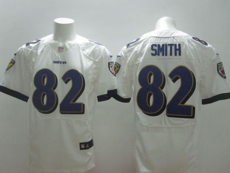 Men Baltimore Ravens 82 Smith White Elite Nike NFL Jerseys