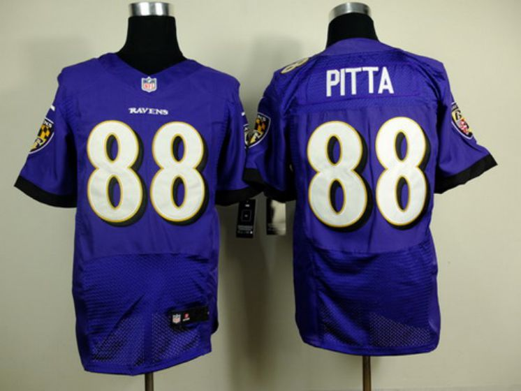 Men Baltimore Ravens 88 Dennis Pitta Purple Elite Nike NFL Jerseys