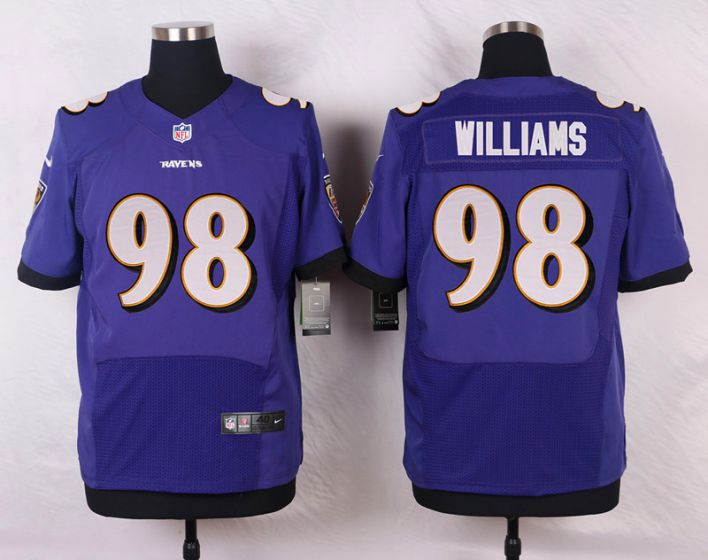Men Baltimore Ravens 98 Brandon Williams Purple Elite Nike NFL Jerseys