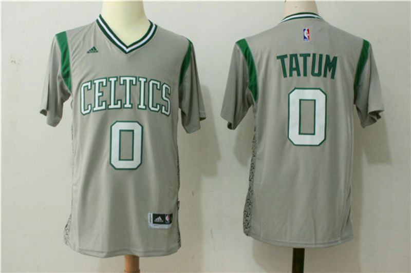 Men Boston Celtics 0 Jayson Tatum Gray Stitched adidas Revolution 30 Swingman NBA Jerseys