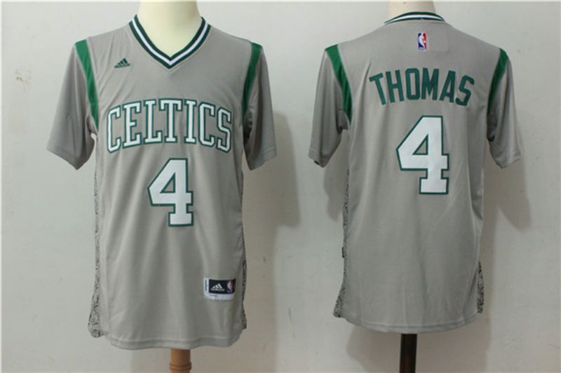 Men Boston Celtics 4 Isaiah Thomas Gray Stitched adidas Revolution 30 Swingman NBA Jerseys