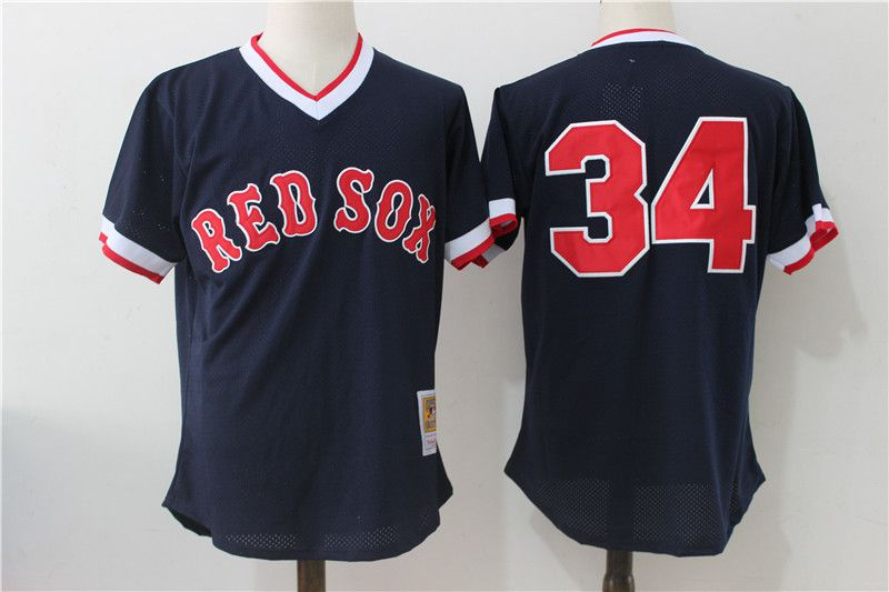 Men Boston Red Sox 34 David Ortiz Mesh Throwback MLB Jerseys