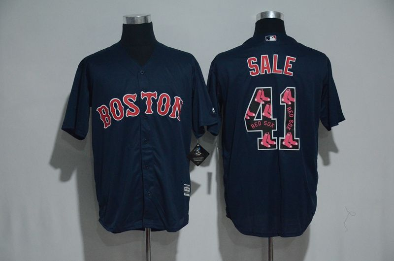 Men Boston Red Sox 41 Chris Sale Blue 2017 Spring Training MLB Jerseys