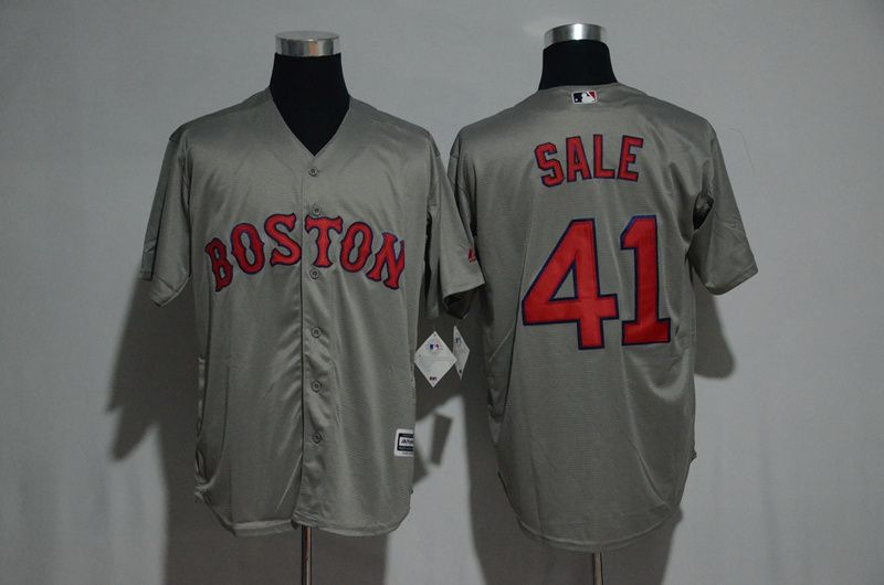 Men Boston Red Sox 41 Chris Sale Grey Game MLB Jerseys