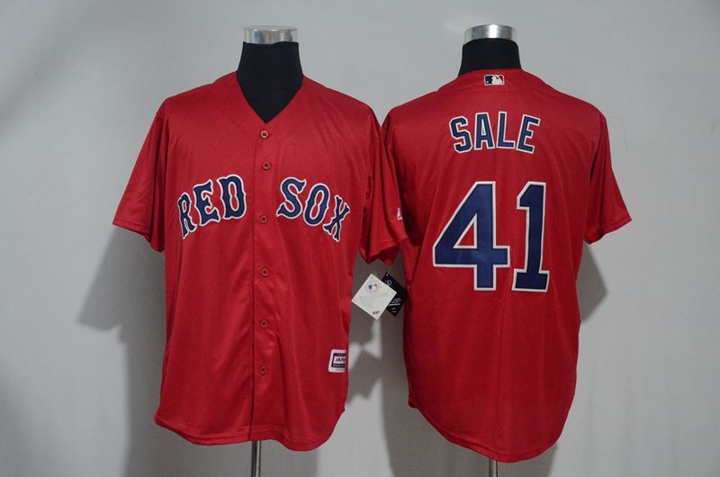Men Boston Red Sox 41 Chris Sale Red Game MLB Jerseys