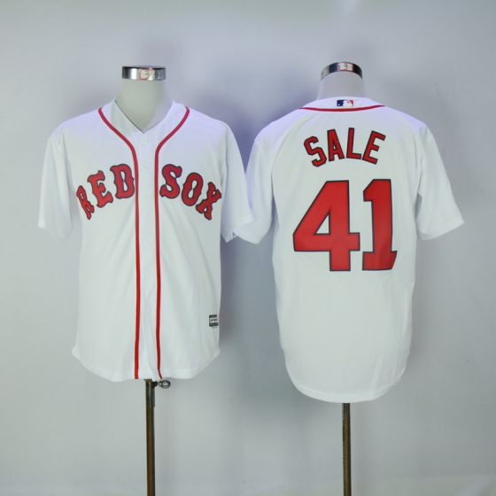 Men Boston Red Sox 41 Chris Sale White Game MLB Jerseys
