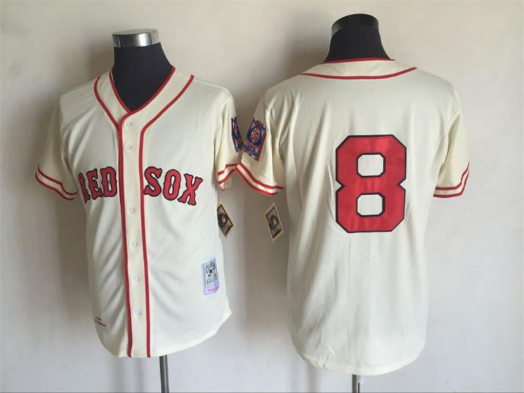 Men Boston Red Sox 8 Carl Yastrzemski Gream Throwback MLB Jerseys
