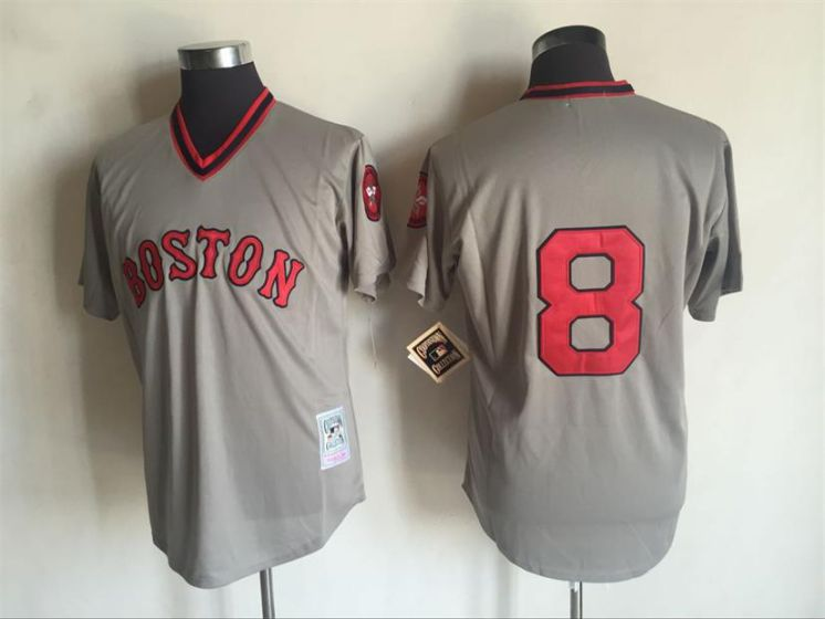 Men Boston Red Sox 8 Carl Yastrzemski Grey Throwback MLB Jerseys