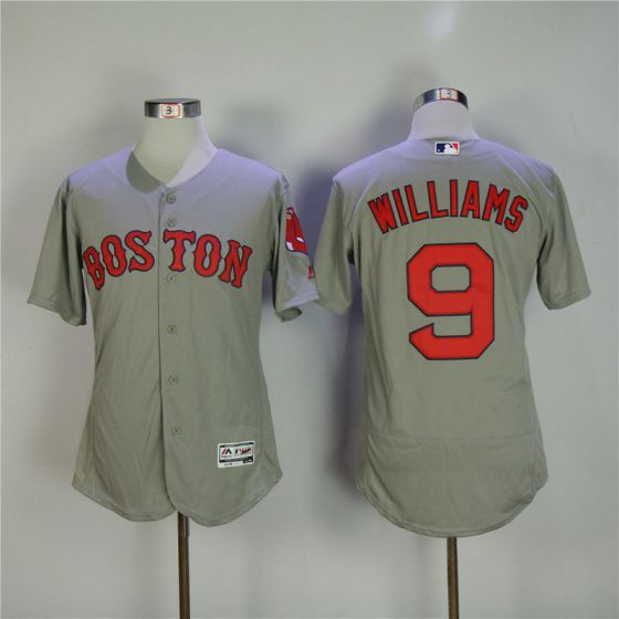 Men Boston Red Sox 9 Ted Williams Grey Elite MLB Jerseys