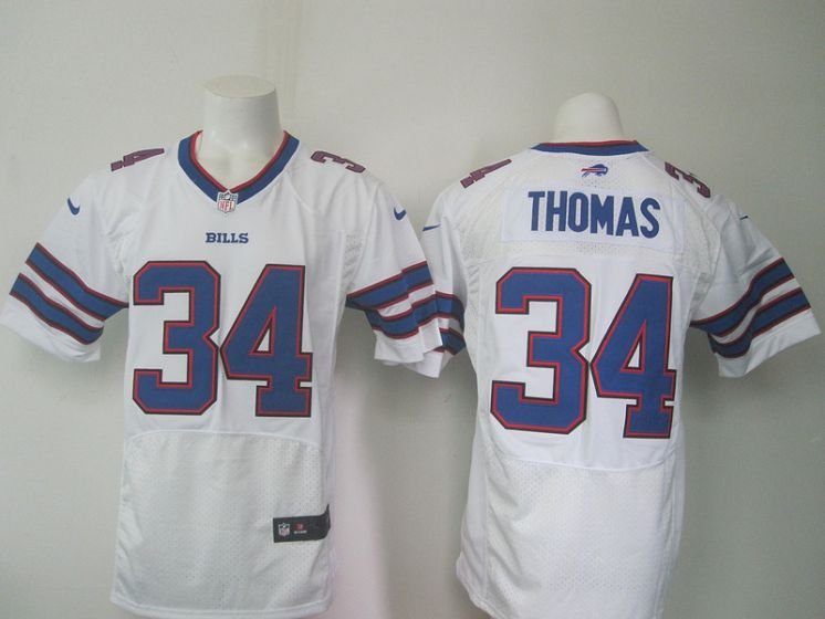 Men Buffalo Bills 34 Thurman Thomas White Elite Nike NFL Jerseys