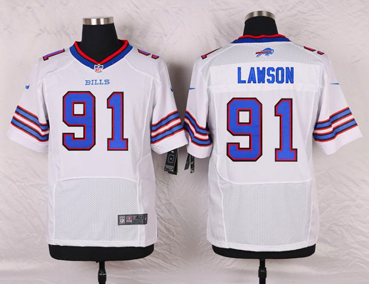 Men Buffalo Bills 91 Manny Lawson White Elite Nike NFL Jerseys