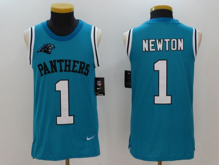 Men Carolina Panthers 1 Cam Newton Blue Rush Player Name Number Tank Top stitched NFL Jerseys