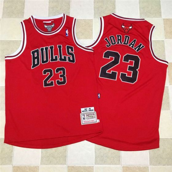 Men Chicago Bulls 23 Jordan Red throwback NBA Jerseys