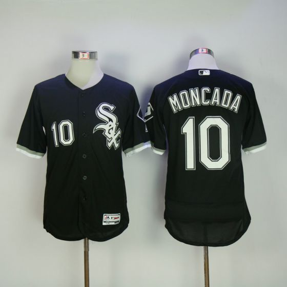Men Chicago White Sox 10 Moncada Black Elite MLB Jerseys