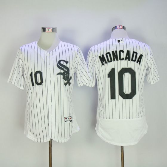 Men Chicago White Sox 10 Moncada White Elite MLB Jerseys