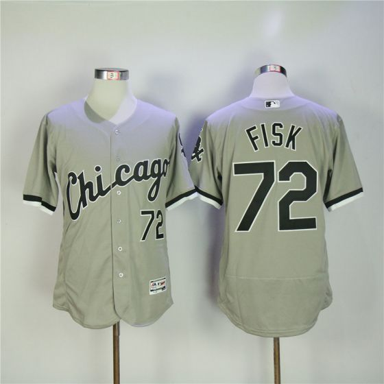 Men Chicago White Sox 72 Fisk Grey Elite MLB Jerseys