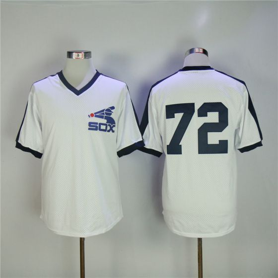 Men Chicago White Sox 72 Fisk White Throwback MLB Jerseys