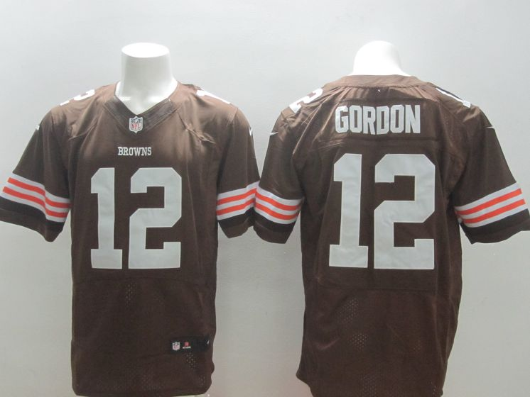 Men Cleveland Browns 12 Josh Gordon Brown Nike NFL Elite Jerseys