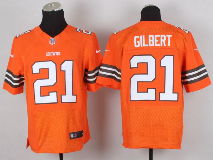 Men Cleveland Browns 21 Gilbert Orange Elite Nike NFL Jerseys
