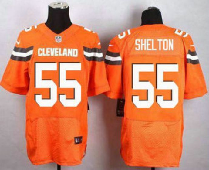 Men Cleveland Browns 55 Shel Ton Orange Elite Nike NFL Jerseys