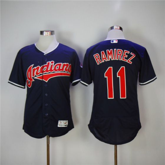 Men Cleveland Indians 11 Jose Ramirez Blue Elite MLB Jerseys