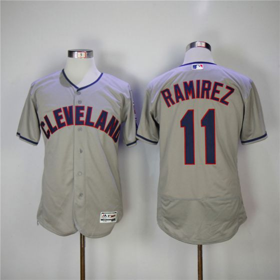 Men Cleveland Indians 11 Jose Ramirez Grey Elite MLB Jerseys