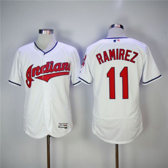 Men Cleveland Indians 11 Jose Ramirez White EliteMLB Jerseys