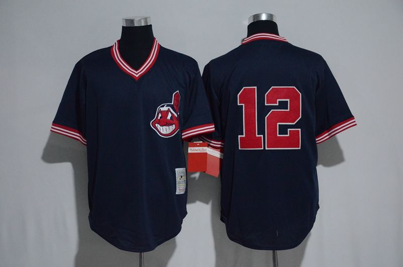 Men Cleveland Indians 12 Francisco Lindor Blue MLB Jerseys