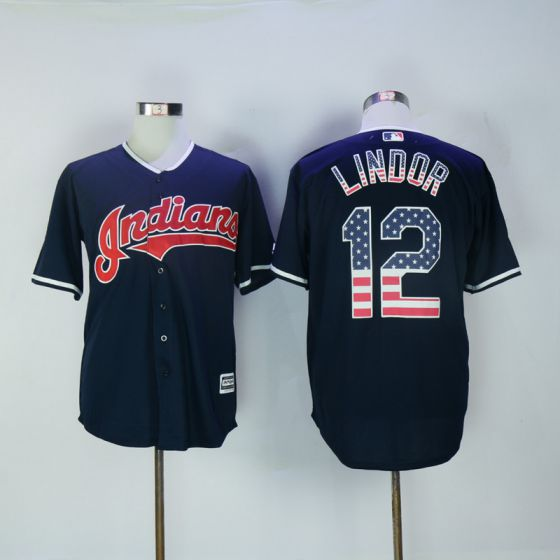 Men Cleveland Indians 12 Francisco Lindor Blue USA Flag Fashion MLB Jerseys