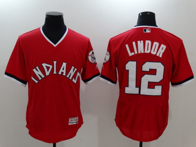 Men Cleveland Indians 12 Francisco Lindor Red Throwback MLB Jerseys